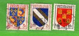 France °- 1953 -   Yvert. 952-953-954 . Obliterer. Vedi Descrizione. - Francia