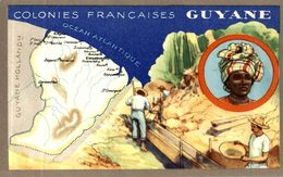 CHROMO LION NOIR COLONIES FRANCAISES GUYANE - Trade Cards