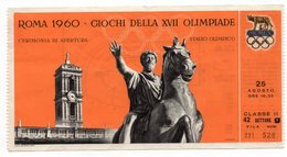 1960 SUMMER OLYMPIC GAMES, ROME, ITALY, TICKET FOR OPENING CEREMONY AT OLYMPIC STADIUM, USED - Toegangskaarten