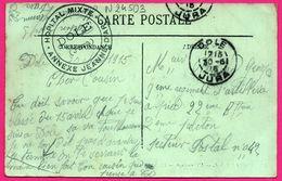 JURA CP 1915 DOLE FM HOPITAL MIXTE ANNEXE JEANNE D'ARC POUR SECTEUR POSTAL N° 42 SUR CP L'HERMITAGE - Marcofilie (Brieven)