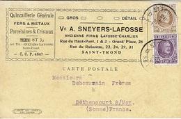 """T.P. 198+203 S/C.P. """"Ve A. SNEYERS-LAFOSSE - Quicaillerie"""" De ST-TRUIDEN (26-II-1927) à BETHENCOURT S/MER - 1922-1927 Houyoux"""