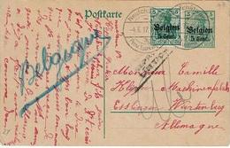 """OC. 12 S/E.P. 9 De NEUFCHATEAU A Du 4.6.17 Vers ESSLINGEN + Censure Lüttich + """"Belgique"""" Au Crayon Bleu - Guerre 14-18"""
