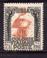 LIBIA 1931 PITTORICA SENZA FILIGRANA UNWATERMARK CENT. 7 1/2c MLH - Libia
