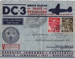 PAYS BAS YT N°712 ET 713 OBLITERES SUR DEVANT DE LETTRE SPECIALE PREMIER VOL ET JAMBOREE 1937 - Scoutisme