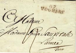1812- Letter From 87 / VOGHERE  ( Gênes )   34 Mm Black To Roma ( Arrive 19 Mars ) - ...-1850 Préphilatélie