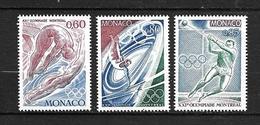 """MONACO 1976   Lot 3 Timbres  N° 1057 à 1059  """" Jeux Olympiques De MONTREAL """"   NEUFS - Neufs"""