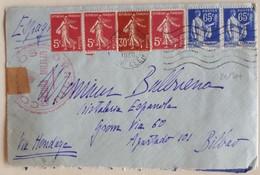 20130# LETTRE CENSURE CENSURA MILITAR BILBAO Obl PARIS 1938 Pour BILBAO ESPAGNE Via HENDAYE ESPANA - 1921-1960: Modern Period