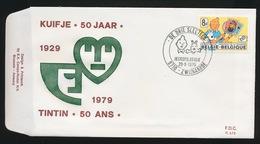F.D.C P573  -TINTIN 50 ANS - JEUGDFILATELIE 29_9_1979   ZWIJNAARDE - FDC