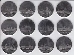 COLECCION COMPLETA DE 12 MEDALLAS DE LOS GRANDES TRANSATLÁNTICOS (C. GONDARD) BARCO- SHIP - Francia