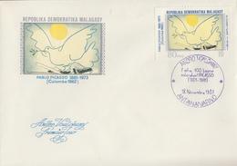 Enveloppe  FDC   1er    Jour    MADAGASCAR    Oeuvre  De   PICASSO    1981 - Picasso