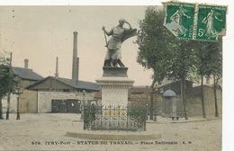 Ivry Port Statue Du Travail Place Nationale  Envoi Brassonin Charron à Clemont Sur Sauldre Cher - Ivry Sur Seine