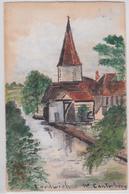 FORDWICH CHURCH NEAR CANTERBURY VINTAGE HAND DRAWN POSTCARD - Canterbury