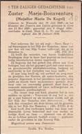 Zuster, Soeur, Marie De Kegel, Wanzele, Gent, 1938 - Religion & Esotérisme