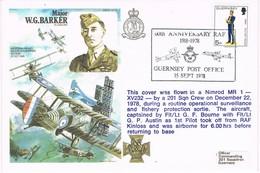 32493. Carta Flown Flight BRITISH FORCES (Guernsey) 1978.60 Anniversary RAF - Guernsey