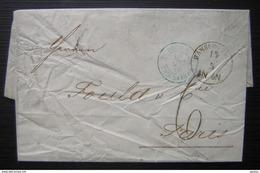 1866 Marque D'entrée Bleue Tour T 2 Erquelines Sur Une Lettre De Hambourg (Hamburg Allemagne), Pour Paris - Poststempel (Briefe)