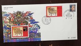 HONG KONG Bloc Commemoratif Gommé Doré à L'or Fin OF THE OX. 1997. FDC Premier Jour - 1997-... Région Administrative Chinoise