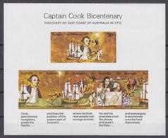 Australia 1970 Mi. Block 1 Miniature Sheet Imperf. Captain Cook Bicentenary Discovery Of East Coast Of Australia MNH** - Blocks & Kleinbögen