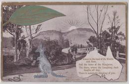 AUSTRALIA NOVELTY RELIEF VINTAGE POSTCARD KANGAROO SNAKE SUNSHINE AWAY IN THE LAND OF THE WATTLE ANG GUM KANGOUROU - Non Classés