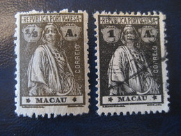 MACAU Ceres 1914/21 Yvert 210/1 (2 Stamp (1 Cancel) Perf 12x11 1/2 Cat. Year 2008: 3,50 Eur) Macao Portugal China Area - Macao