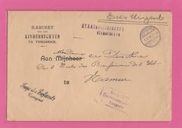 JUGE DES ENFANTS-STAATSDIENSTSACHE.LETTRE EN FRANCHISE POSTALE DE TONGRES/TONGERN AVEC CACHET DE CENSURE. - Weltkrieg 1914-18