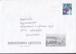 Norway BJØRNEFJORDEN GJESTUN, OS 1997 Cover Brief DRAGOER Denmark VM På Ski Skiing World Cup Stamp - Norwegen