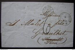 1860 Marque D'entrée Tour T 2 Valenciennes Sur Une Lettre De Hambourg (Hamburg Allemagne), Pour Graulhet (Tarn) - Storia Postale