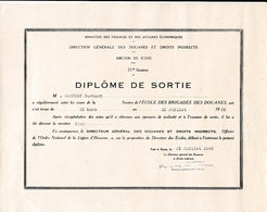 1960 - ECOLE DES BRIGADES DES DOUANES - Diplôme De Sortie - Documents Historiques