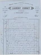 Facture 1883 / Laurent CORNET / Vins Fins / Vin De Paille / 39 Poligny Jura - France