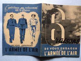 """Plaquette Propagande 6 Raisons De Vous Engager Dans L""""armée De L'air Petain Anti Juif - Catalogs"""
