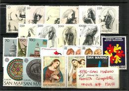 1976 SAN MARINO Annata Completa Nuova ** MNH - Nuovi