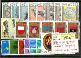 1974 SAN MARINO Annata Completa Nuova ** MNH - Nuovi