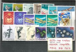 1978 SAN MARINO Annata Completa Nuova ** MNH - Nuovi