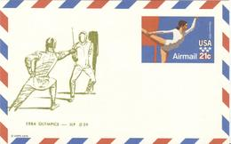 USA Unused Olympic Stationery Card JLP Nr. 29 With Fencing - Zomer 1984: Los Angeles
