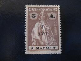 MACAU Ceres 1919 Overprinted 1/2 Avo Yvert 246 (Cat Year 2008: 60 Eur) Macao Portugal China Area - Macau