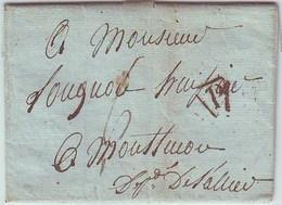France LAC De PARIS( Cachet Triangulaire Port Payé) Pour L'Allier, 17 Juin 1816, Taxe Manuscrite 6 - Marcophilie (Lettres)