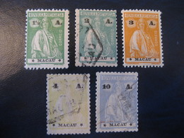 MACAU Ceres 1924 Yvert 250/3 + 255 (5 Stamp 3 Cancel Cat Year 2008: 24,75 Eur) Macao Portugal China Area - Macao