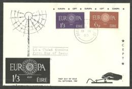 IRELAND 1960 EUROPA WHEEL COMMUNICATIONS SET ON FDC - 1949-... Republic Of Ireland