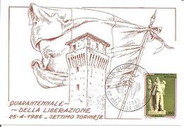 ITALIA - 1985 SETTIMO TORINESE (TO) 40° Anniv. Liberazione (bandiera, Torre Castello) Su Cartolina Speciale - Francobolli