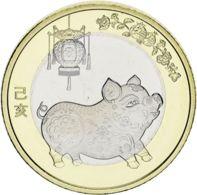"""China 10 Yuan 2019 """"Year Of The Pig"""" Bimetal UNC - China"""