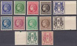 FRANCE - 1945/1947 -  Serie Completa Nuova Composta Da 12 Valori: Yvert 670/681 Tutti MNH Tranne Il 672 (MH). - Nuovi