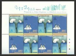 KOREA 2011 PRESERVE POLAR REGIONS BIRDS PENGUINS POLAR BEAR BLOCK OF 4 SETS MNH - Korea, South