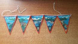 5 Bandierine Per VESPA/LAMBRETTA Souvenir Vintage Portofino-Rapallo-Chiavari-Sestri Levante-Santa Margherita - Ecussons Tissu