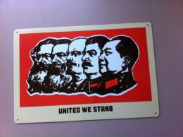 United We Stand          Uni Nous Sommes Debout          Mao-Staline-Lénine-Engels -Marx ................. - Advertising (Porcelain) Signs