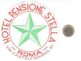 ETIQUETA DE HOTEL  - HOTEL PENSIONE STELLA  -ROMA  -ITALIA - Hotel Labels