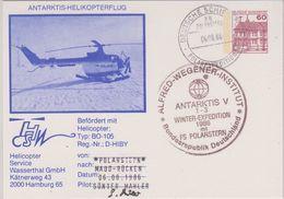 Germany 1986 Heli Flight Polarstern Nach Maud-Rücken Si Pilot Postcard Ca 6.8.86 (42459) - Voli Polari