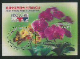 NORTH KOREA 2018 PRAGA EXPO WORLD STAMP EXHIBITION 3D-MINISHEET - Butterflies