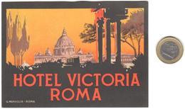 ETIQUETA DE HOTEL  - HOTEL VICTORIA  -ROMA  -ITALIA - Hotel Labels