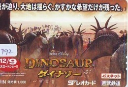 Carte Prépayée Japon * DISNEY * DINOSAUR * FILM  (1792) CINEMA * JAPAN PREPAID CARD - Disney