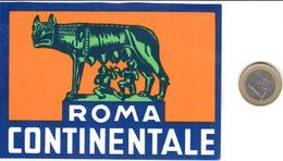 ETIQUETA DE HOTEL  -HOTEL CONTINENTALE  -ROMA  -ITALIA - Hotel Labels