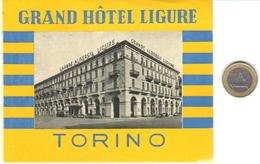 ETIQUETA DE HOTEL  -GRAND HÔTEL LIGURE  -TORINO  -ITALIA - Hotel Labels